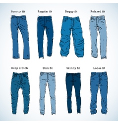 Denim fit hand drawn set vector