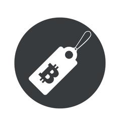 Monochrome round bitcoin price icon vector