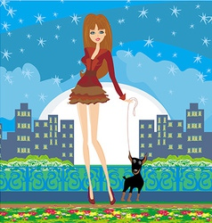 Sexy girl walking with a dog in the night vector