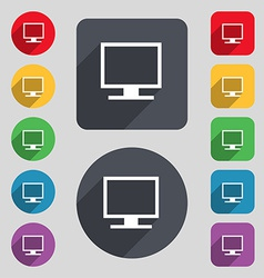 Computer widescreen monitor icon sign a set of 12 vector