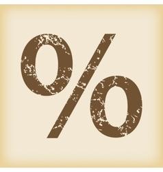 Grungy percent icon vector