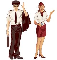Flight attendant and pilot vector