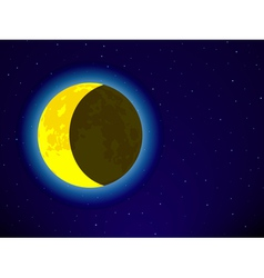 Moon on night sky vector