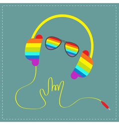 Rainbow headphones cord hand with sunglasses vector
