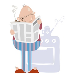 Man smoking a pipe and reading newspaper vector