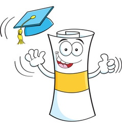 Cartoon diploma giving thumbs up vector