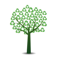 Tree with recycling symbols vector