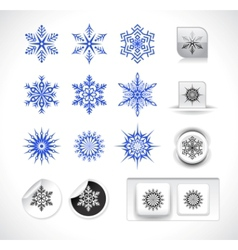 Set of snowflake shapes vector