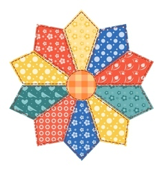 Patchwork abstract flower vector