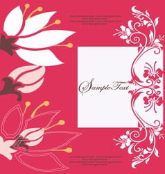Abstract red floral card vector
