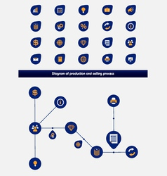 Editable business diagram template with icons vector