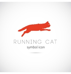 Running cat silhouette symbol icon or label vector