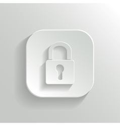 Lock icon - white app button vector