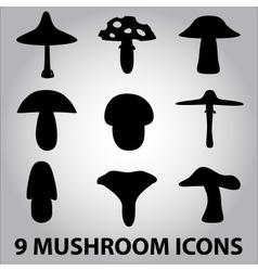 Black symbols of mushroom types eps10 vector