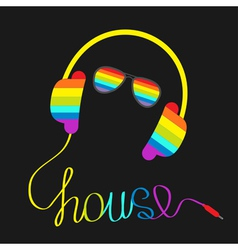Rainbow headphones cord word house glasses vector