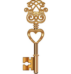 Golden key with heart vector