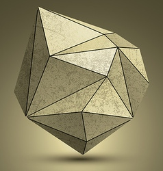 Distorted grunge copper 3d polygonal technology vector
