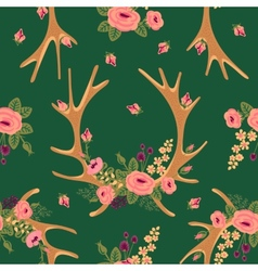 Vintage seamless pattern with deer antlers and vector
