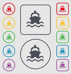 Ship icon sign symbol on the round and square vector