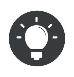 Monochrome round light bulb icon vector