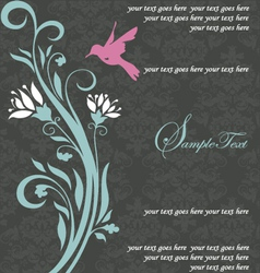 Floral invitation card with bird vector