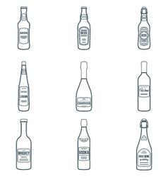 Dark outline alcohol bottles icons set vector