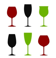 Colorful wine glasses set vector