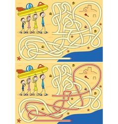 Happy family maze vector
