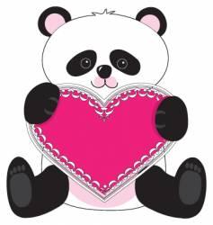 Panda heart vector
