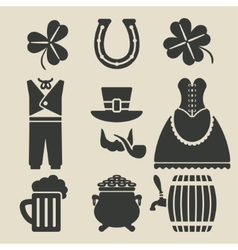 St patricks day symbols set vector