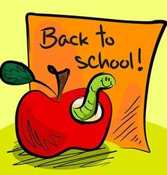 Back to school worm in apple vector