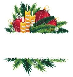 Christmas decorations and pine tree branches vector