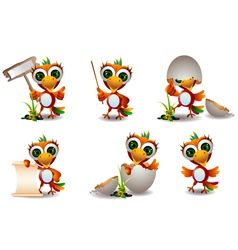 Cute baby parrots cartoon set vector