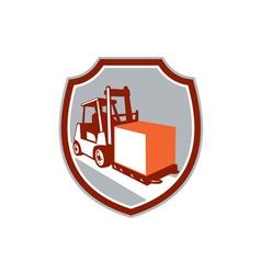Forklift truck box shield retro vector