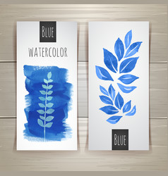 Watercolor brush strokes with floral elements vector