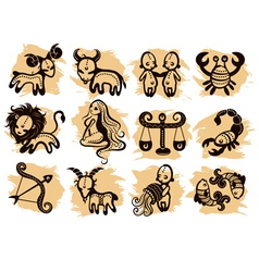 Ethnic horoscope icons vector