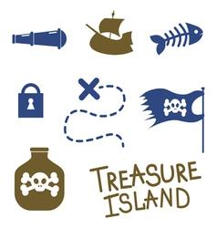 Tresure island game icons vector