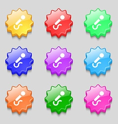 Microphone icon sign symbol on nine wavy colourful vector