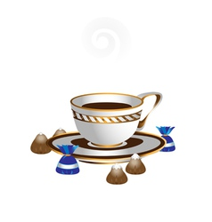 White cup with coffee vector