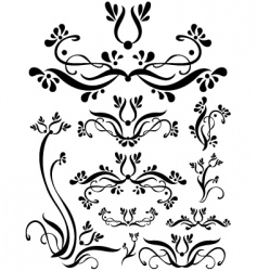 Floral scroll set vector
