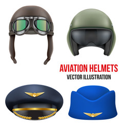 Retro aviator pilot helmet with goggles isolated vector