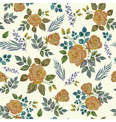 Seamless vintage watercolor ornament with roses vector