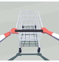 Female hands pushing empty shopping cart vector