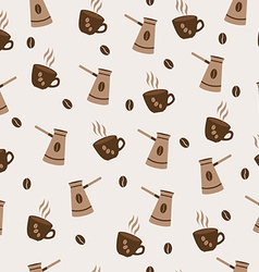 Seamless pattern cute cup of coffee and turkish vector