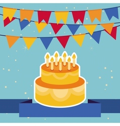 Background with flags and birthday cake vector