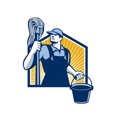 Janitor cleaner holding mop bucket retro vector