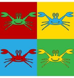 Pop art crab icons vector