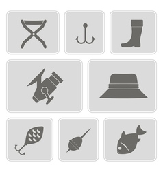 Monochrome icons with fishing attributes vector