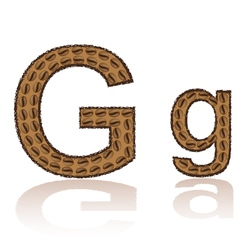 Letter g is made grains of coffee isolated on whit vector