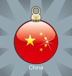 China flag on bulb vector